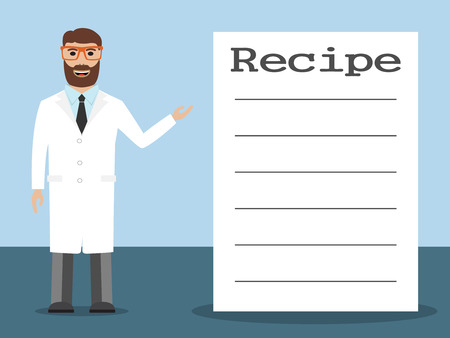 medications: Male pharmacist with beard standing near shelves with medications and recipe placard, vector illustration