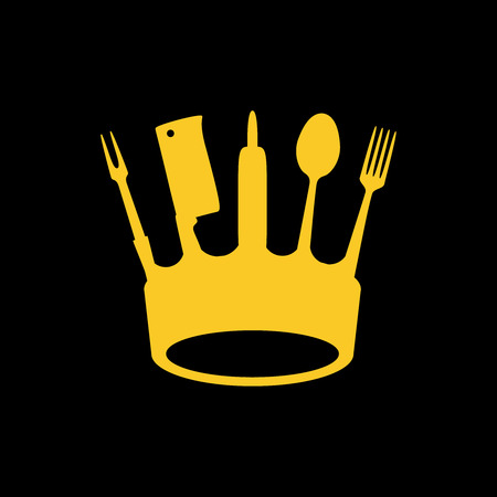 Crown of kitchen utensils, flat logo style, vector illustration Illustration