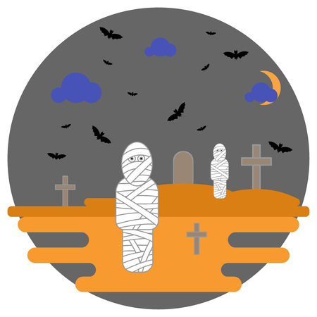 mummified: Mummies in the background cemetery with crosses and bats. Vector illustration for the holiday Halloween