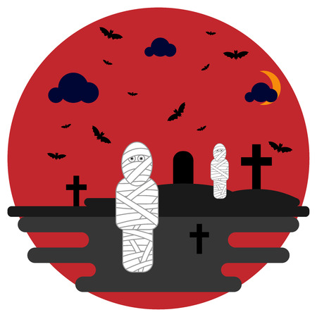 Mummies in the cemetery with crosses and bats. Vector illustration for the holiday Halloween Illustration