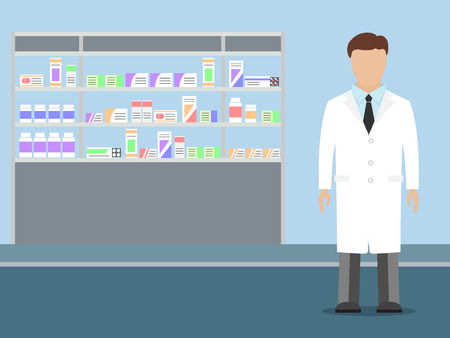 medications: Male pharmacist with beard standing near shelves with medications, vector illustration