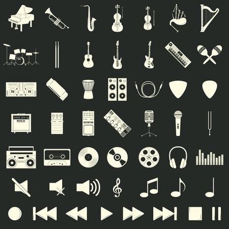 mediator: Musical instrument set, flat syle, vector illustration Illustration