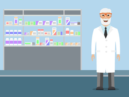 dispensary: Pharmacist standing near shelves with medications
