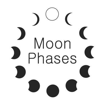 月の満ち欠け、天文学のアイコンを設定  イラスト・ベクター素材