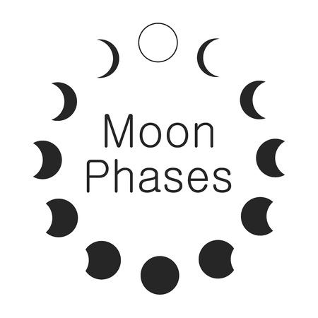 Moon phases, astronomy icon set