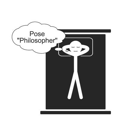 철학자의 수면 자세 일러스트