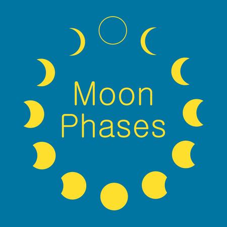 달의 위상, 천문학 아이콘 설정 스톡 콘텐츠
