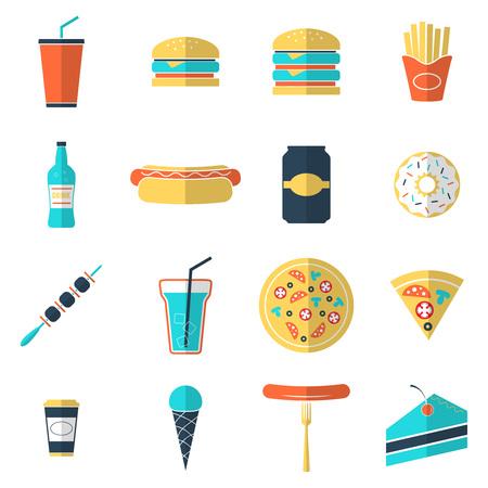 Fast food icons set Çizim
