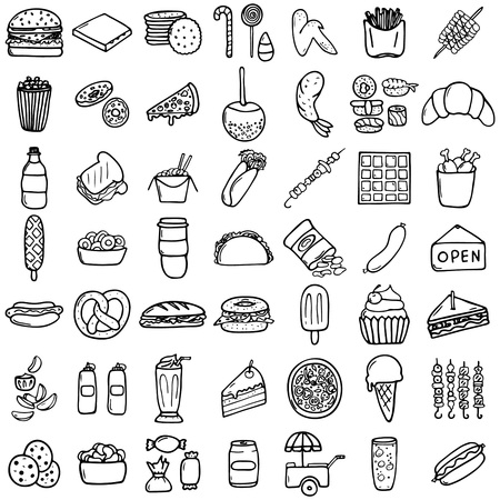 Fast food icons set, hand-made style, vector illustration