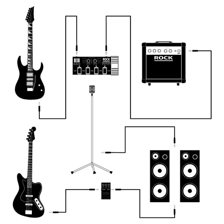 Set of concert equipment icons