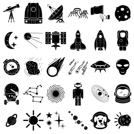 Space icons set, flat hand drawn style