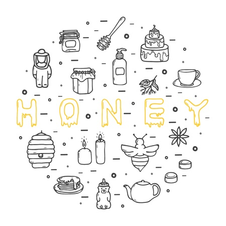 Honey icons set, hand-drawn style, vector illustration Zdjęcie Seryjne