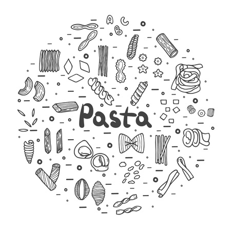 Pasta icons, big set, hand drawn style  イラスト・ベクター素材