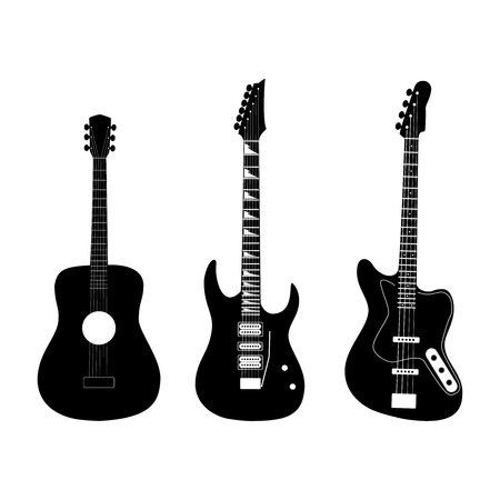 Acoustic, electric and bass guitar in black color, vector illustration