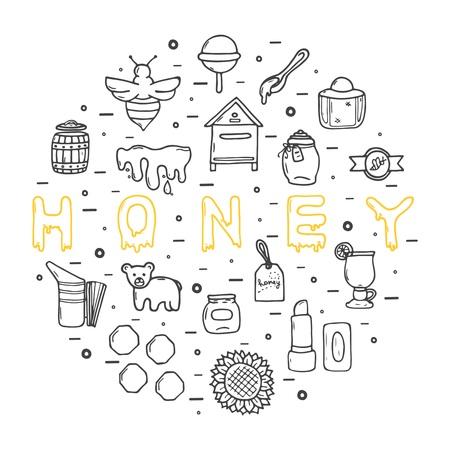 Honey icons set, hand-drawn style, vector illustration