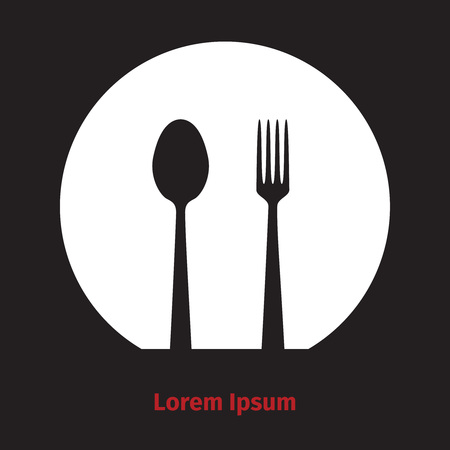 Advertising card with fork, dish and spoon silhouette Zdjęcie Seryjne