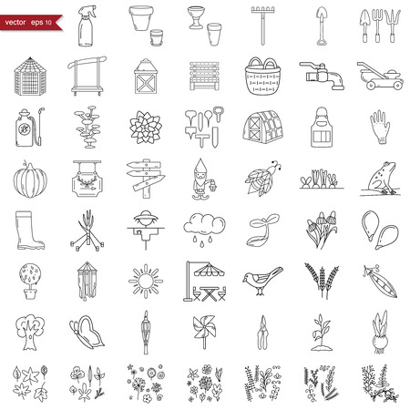 Garden icons set, hand-made style, vector illustration Illustration