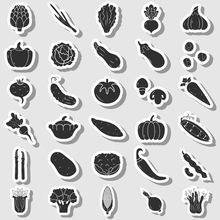 Jeu d'icônes de légumes, style dessiné à la main, illustration vectorielle