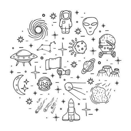 Space icons set, hand drawn cute style