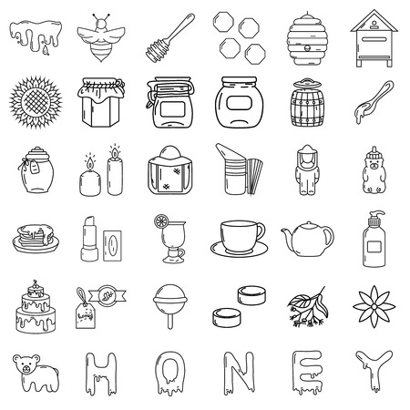 Honey icons, big set, hand drawn style