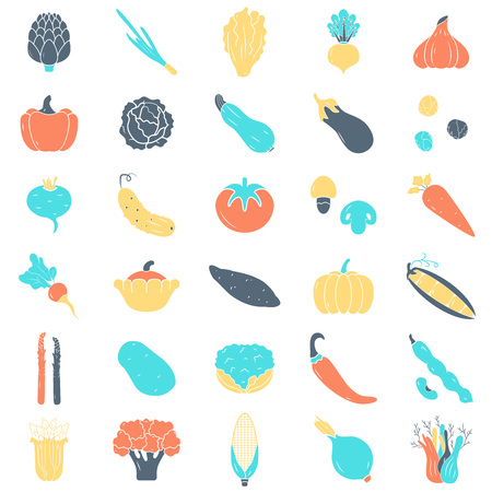 Vegetables icons set, hand-drawn style, vector illustration