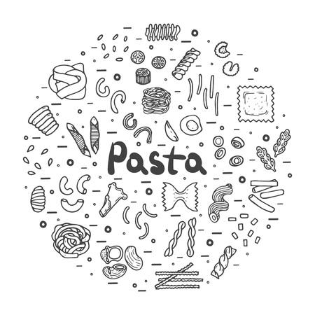 Pasta icons big set, hand drawn style