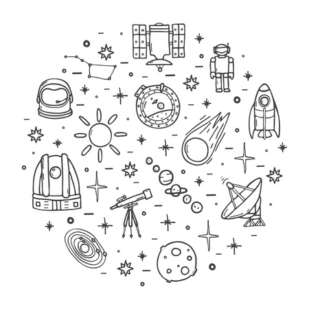 Space icons big set, hand drawn style Ilustracja