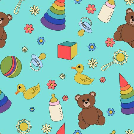 babys dummies: Cartoon illustration children seamless pattern on a blue background. Illustration