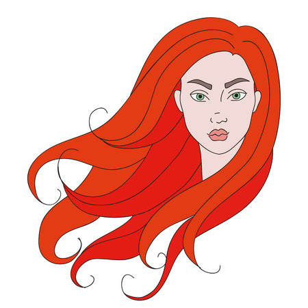 Isolated illustration of a girl head with red hair and green eyes.