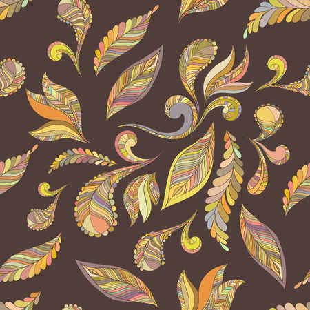 softly: Seamless pattern of multicolored feathers, the primary color yellow. Ethnic design, background.