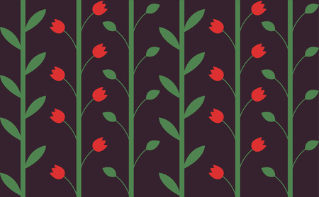 red tulip: Seamless pattern with flowers, with stems and leaves. Floral background, red tulip. Illustration