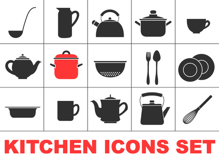 dishes set: Set of icons of kitchen ware. Isolated images of dishes. Vector logo flat style.