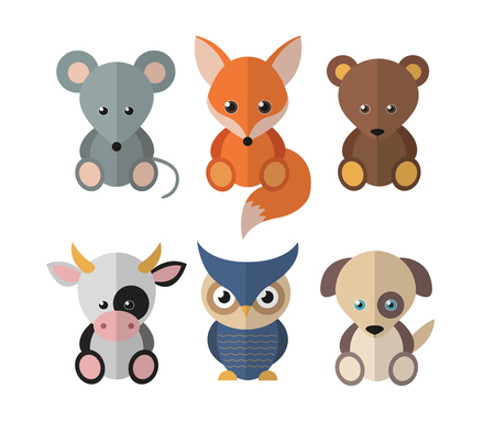 funny animals: Set of funny animals in the flat style. Lovely cartoon style. Illustration