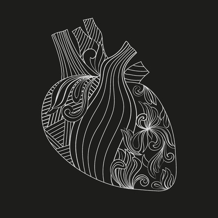 arteries: Vector illustration Coloring heart with veins and arteries, styled with geometric and floral patterns. Illustration