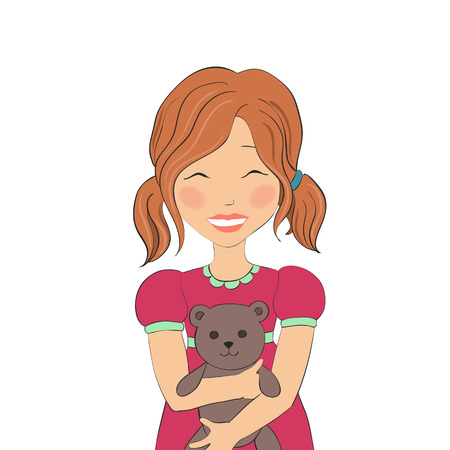 pink dress: Vector illustration of a smiling girl in a pink dress hugging a teddy bear. The kid with a toy.