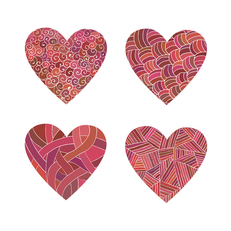 unusual valentine: Set of isolated doodle pink hearts with different patterns. Decorative  elements.