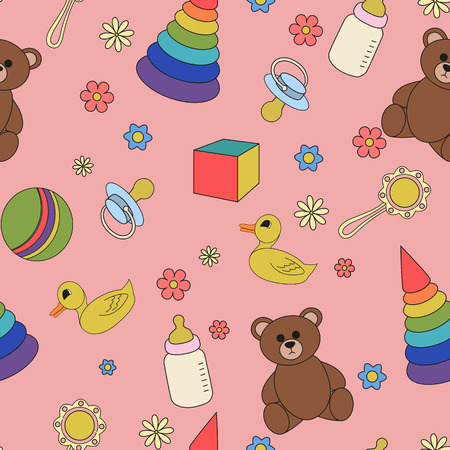 babes: Cartoon illustration children seamless pattern on a pink background. Illustration