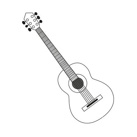 illustration circuit contour d'une guitare en noir et blanc. Coloriage instrument de musique Vecteurs