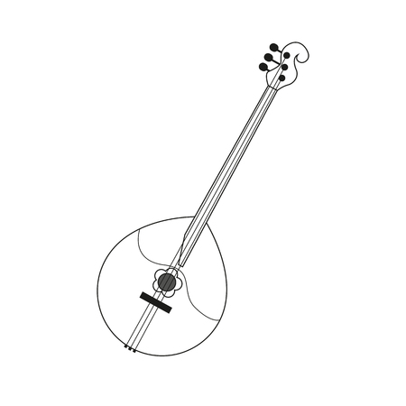 illustration circuit outline of a domra in black and white. Coloring musical instrument Illustration
