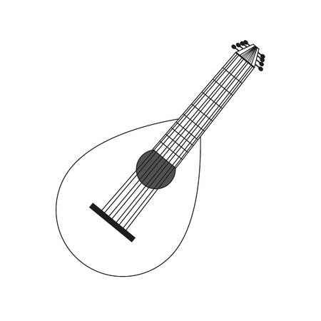 lute: illustration circuit outline of a lute in black and white. Coloring musical instrument