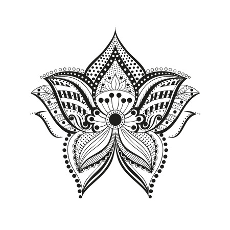vector illustration ethnic flower ornament. Abstract pattern in Indian style for the mehendi and tattoo Illustration