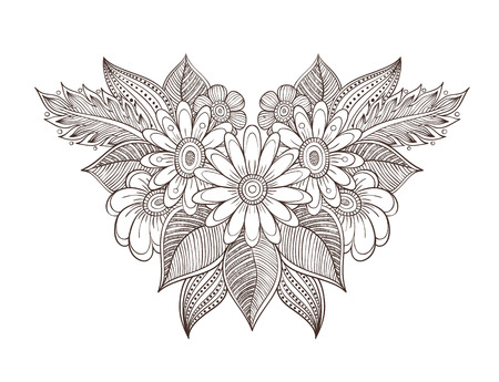 Vector illustration of a bouquet, floral pattern coloring for adults. Background in the boho style doodle, colorless.