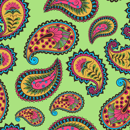 Vector illustration seamless pattern paisley Indian cucumber style. Oriental backdrop textile background. Floral ornament colorful.