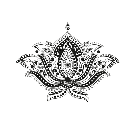 vector illustration coloring adult ethnic flower ornament. Abstract pattern in Indian style for the mehendi and tattoo