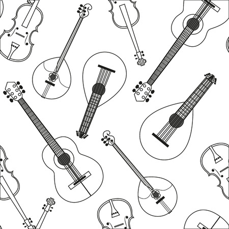 lute: Vector illustration Seamless pattern with musical string instruments. Black-and-white drawing line background acoustic Orchestra