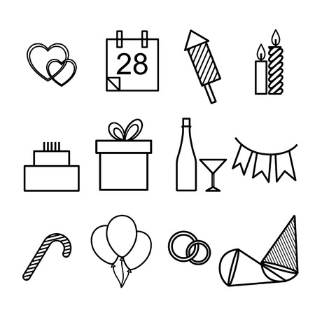 Vector outline illustration set of icons for the holidays, New Year, weddings, birthdays and Christmas. A simple form of black-and-white symbol