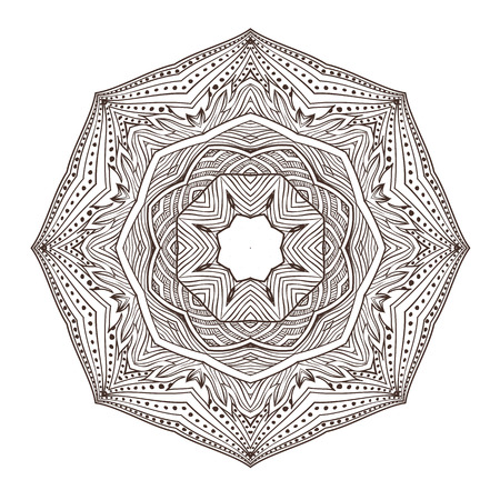 Vector illustration Coloring for adults in the style of boho, mandala background. Geometric outline drawing. Circular ornament point line. Illustration