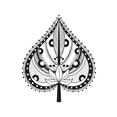 vector illustration coloring adult ethnic leaf ornament. Abstract pattern in Indian style for the mehendi and tattoo