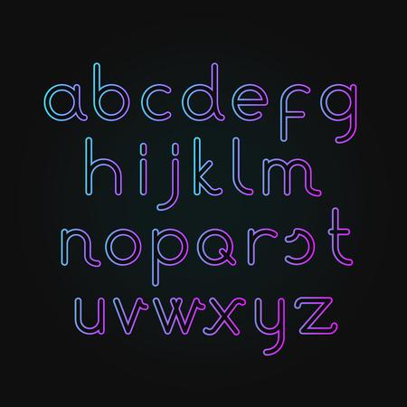 Vector illustration of neon alphabet Font. illuminated letters on dark background