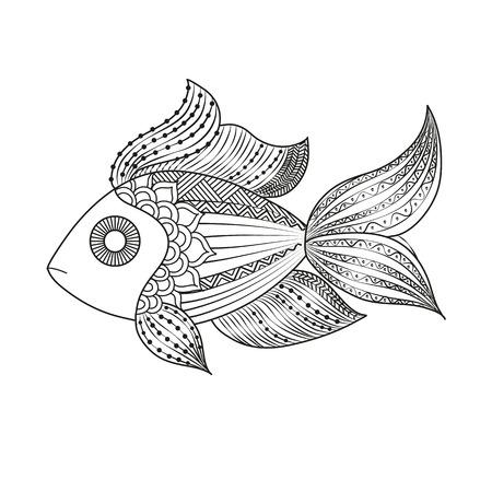 vector illustration doodle coloring monochrome fish, underwater tattoo pattern. Illustration